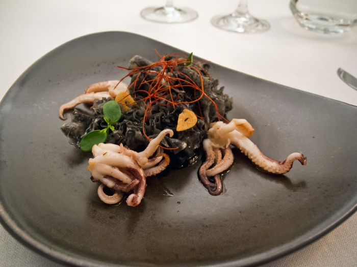 Funghi formis tentacles with Wasabi Mayonnaise