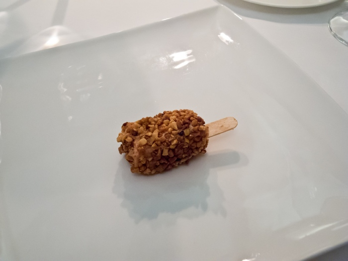 """1. Gang Kibbles of goose liver, almonds from """"Noto"""", Piedmont hazelnuts heart of traditional balsamic vinegar of Modena"""